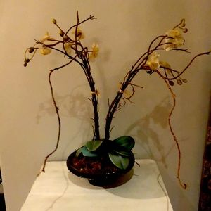 Artificial orchid flower in clay pot 24 inch tall